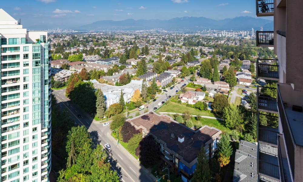 Aerial view from Panarama Tower in Burnaby, BC