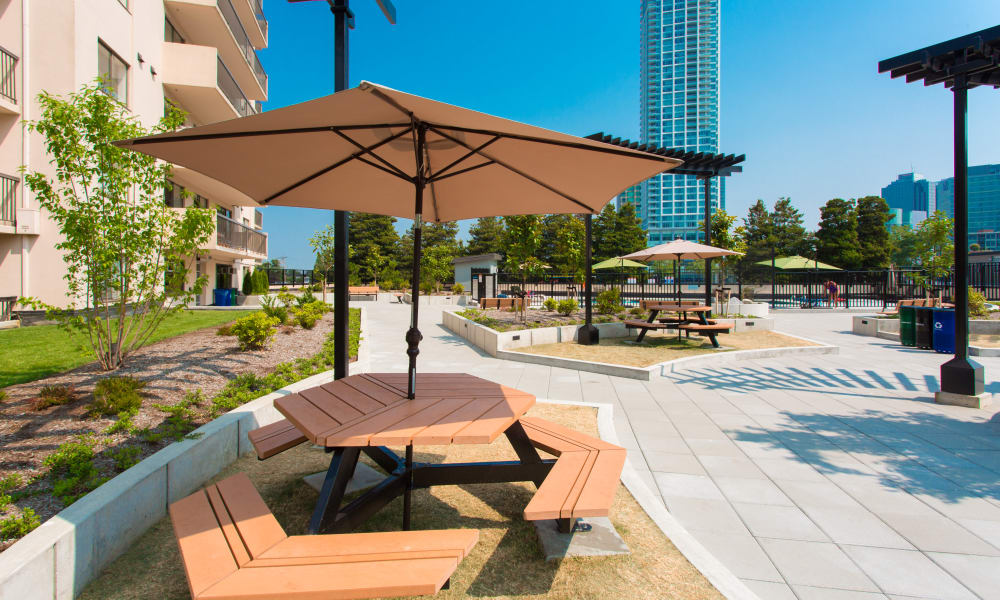 Outdoor benches at Panarama Tower in Burnaby, BC