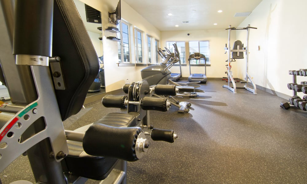 Fitness center at Wilshire Place Apartments
