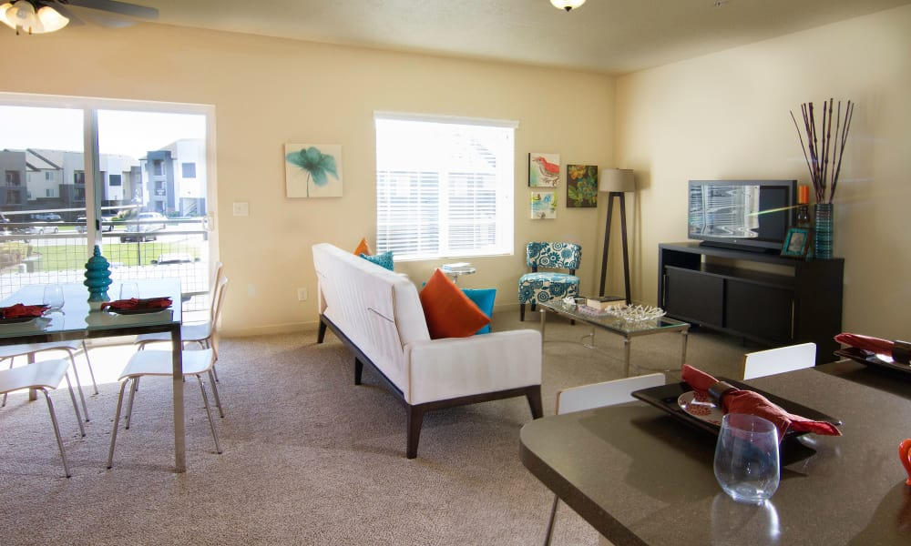 Spacious living room at Wilshire Place Apartments