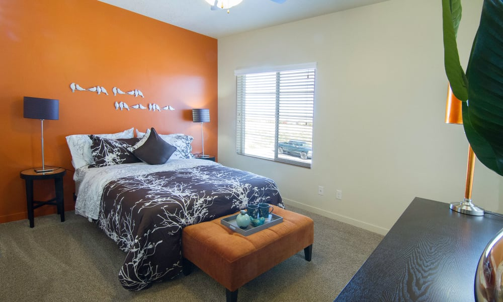 Enjoy a cozy bedroom at Wilshire Place Apartments