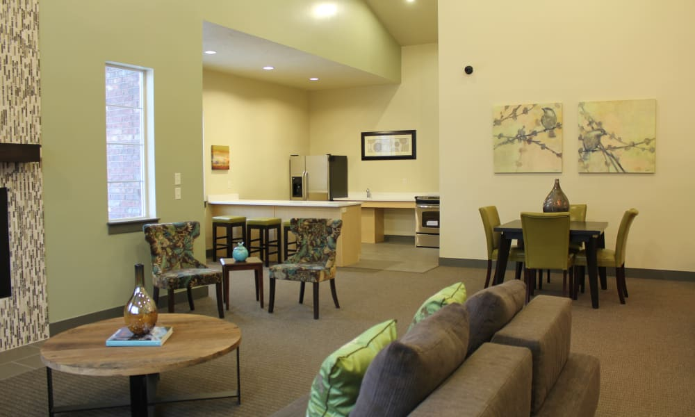 Interior of the Wilshire Place Apartments clubhouse