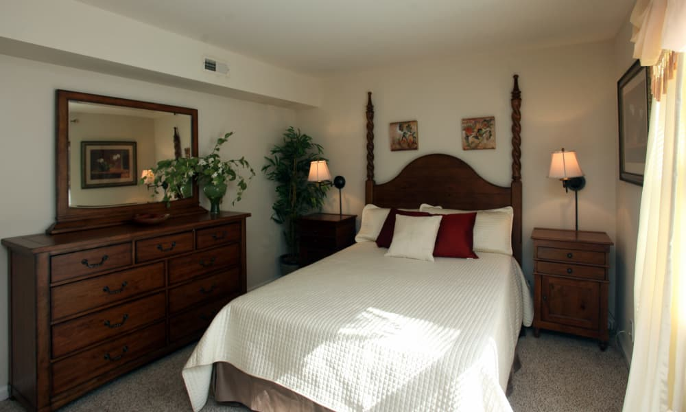 Beautiful bedroom at apartments in Greensboro, North Carolina