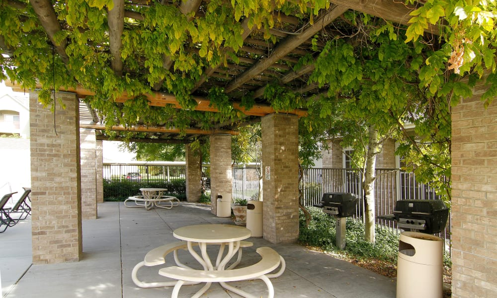 Outdoor sitting area at Preston Hollow Apartments