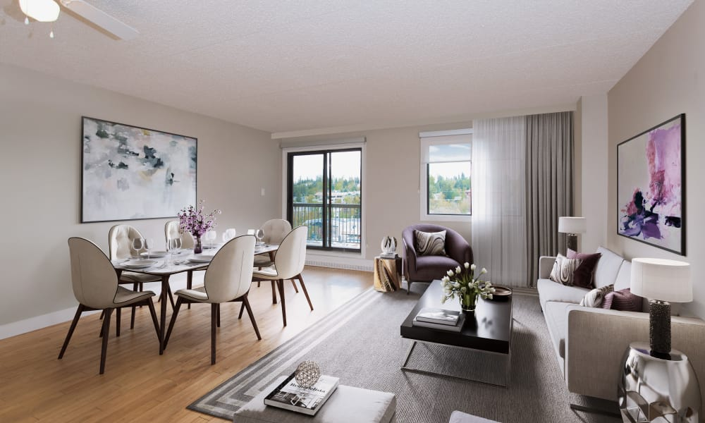 Royal View Apartments offers a beautiful living room in Calgary, AB