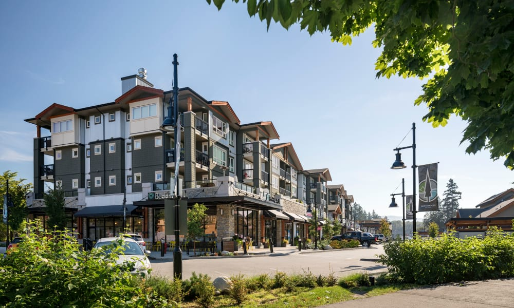 Exterior of apartments at Northwoods Village in North Vancouver, British Columbia
