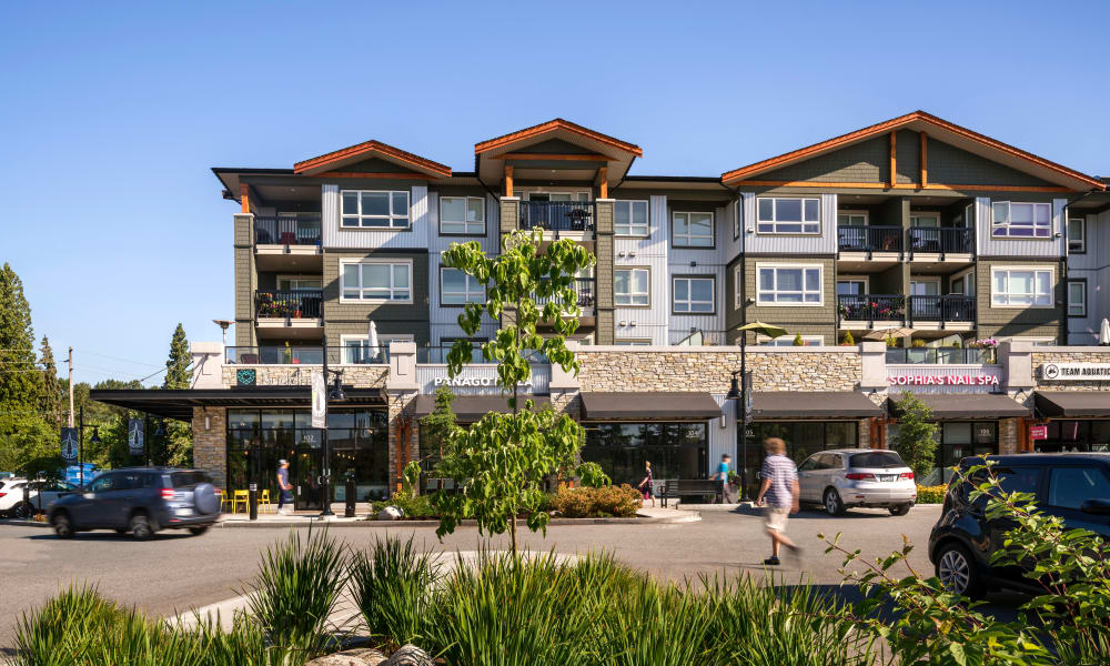 Local businesses and apartments at Northwoods Village in North Vancouver, British Columbia
