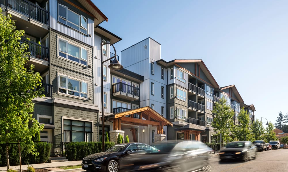 Side exterior of apartments at Northwoods Village in North Vancouver, British Columbia