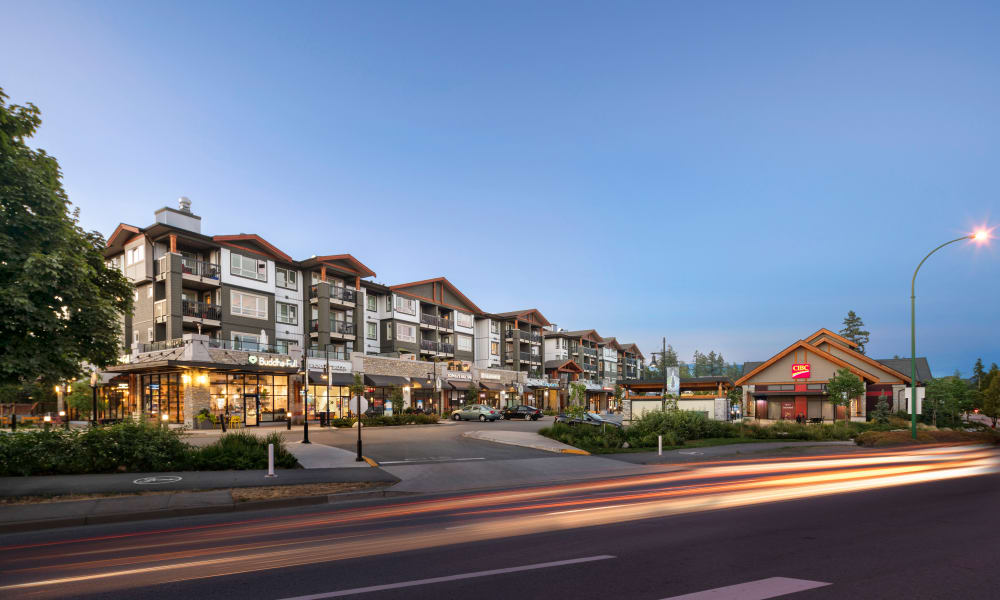 Exterior view at dusk of Northwoods Village in North Vancouver, British Columbia