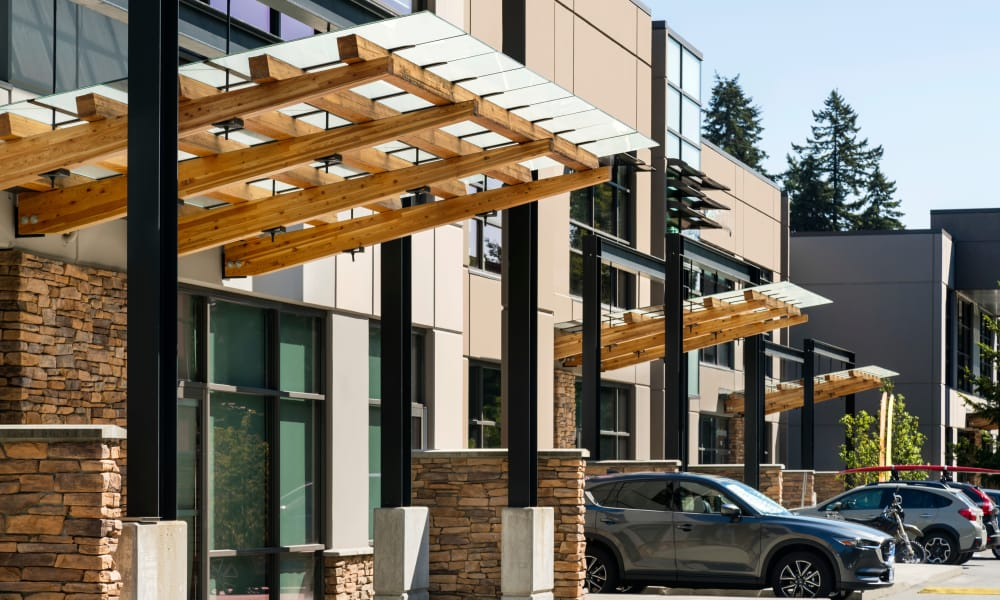 Exterior architectural details at Northwoods Village in North Vancouver, BC