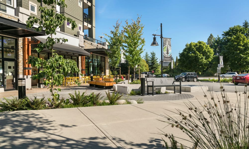 Entrance park at Northwoods Village in North Vancouver, British Columbia