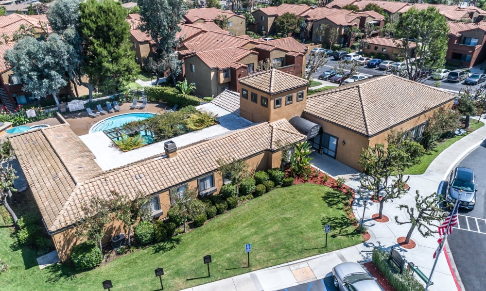 Exterior view from above at The Villas at Rowland Heights in Rowland Heights, CA