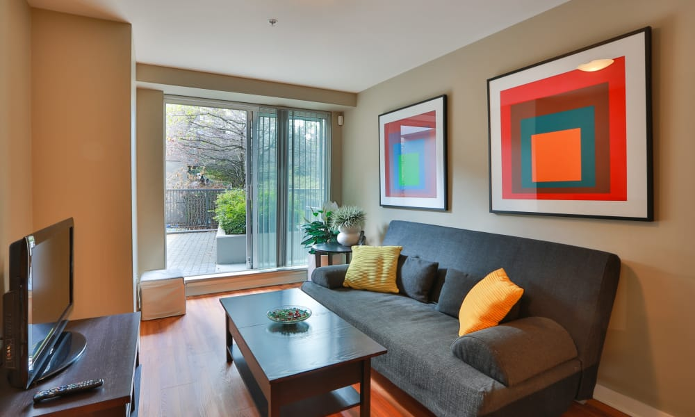 Beautiful living room at apartments in Vancouver, British Columbia