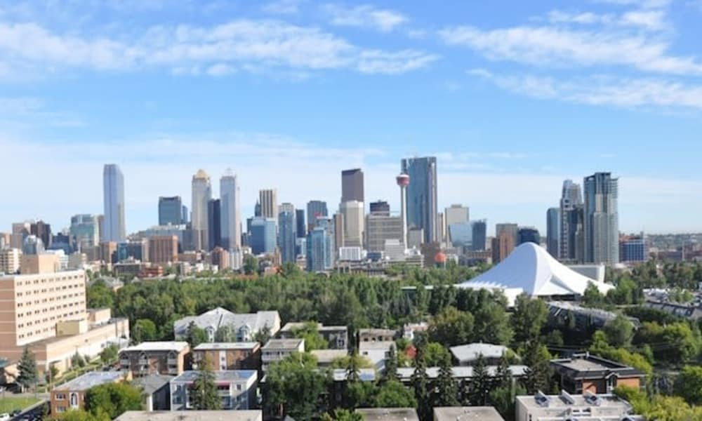 Calgary skyline view near The Mansions
