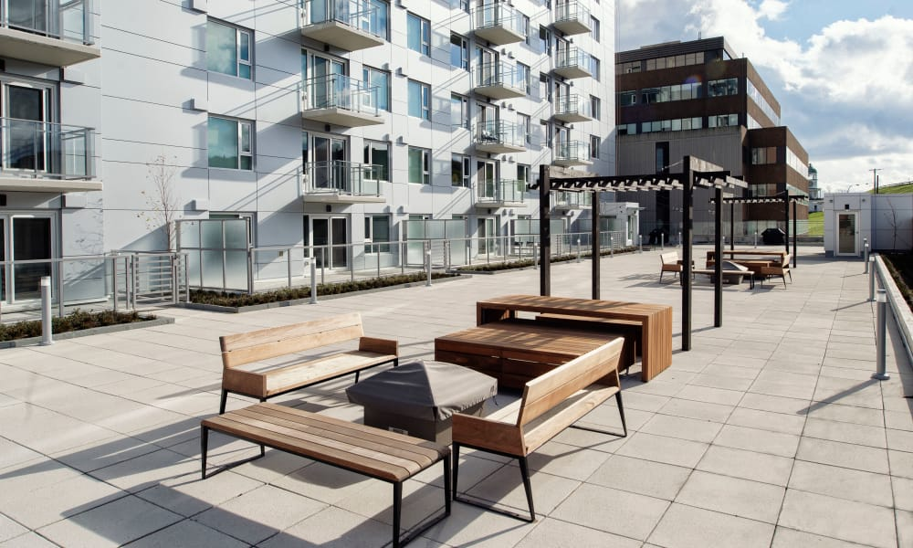 Rooftop furniture at 19Twenty Apartments in Halifax, Nova Scotia