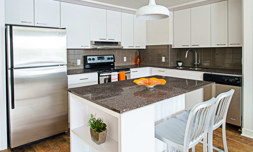 A modern model kitchen at 19Twenty Apartments in Halifax, Nova Scotia