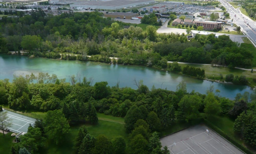 Aerial view of lake at 8 Silver Maple Court in Brampton, ON