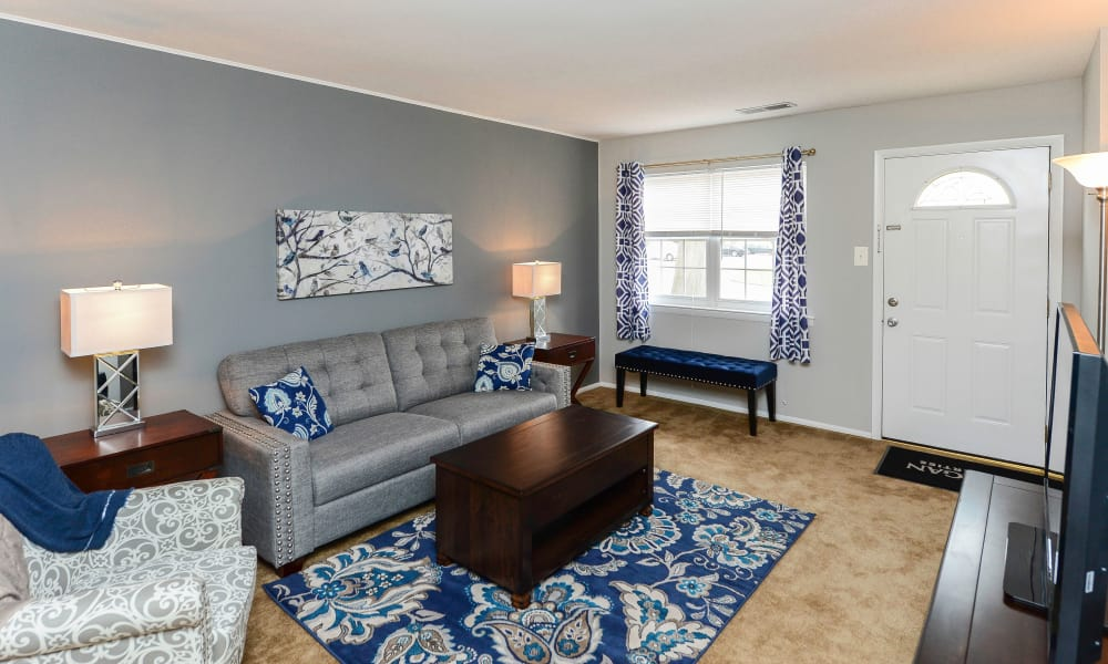 Spacious living room at Moorestowne Woods Apartment Homes