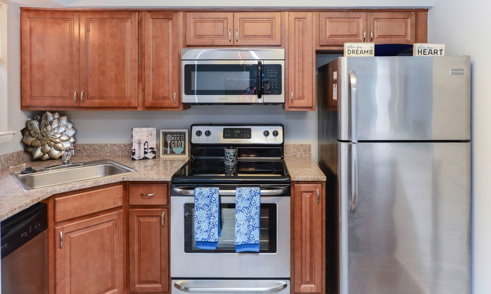 Updated kitchen at Moorestowne Woods Apartment Homes