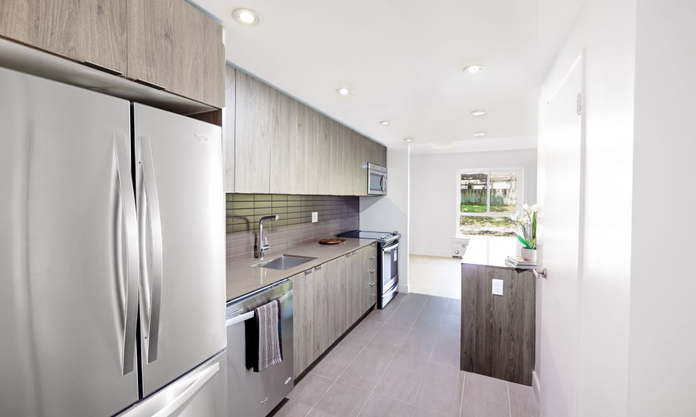 Stainless steel appliances at Bayview Mews in North York