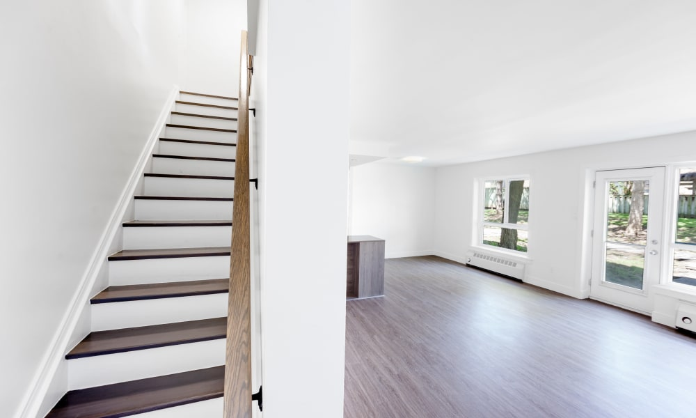 Bright stairs at Bayview Mews in North York