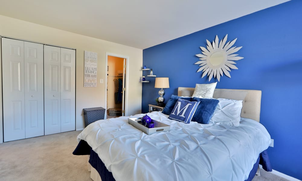 Cozy bedroom at Avery Park Apartment Homes
