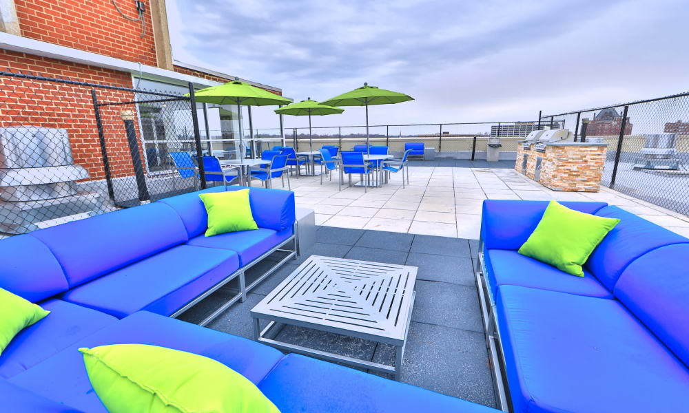 Pool deck at The Carlyle Apartments in Baltimore, Maryland