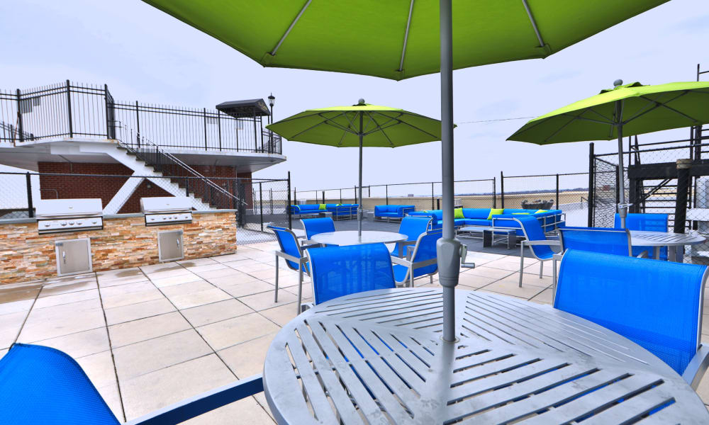Swimming pool deck at The Carlyle Apartments in Baltimore, Maryland