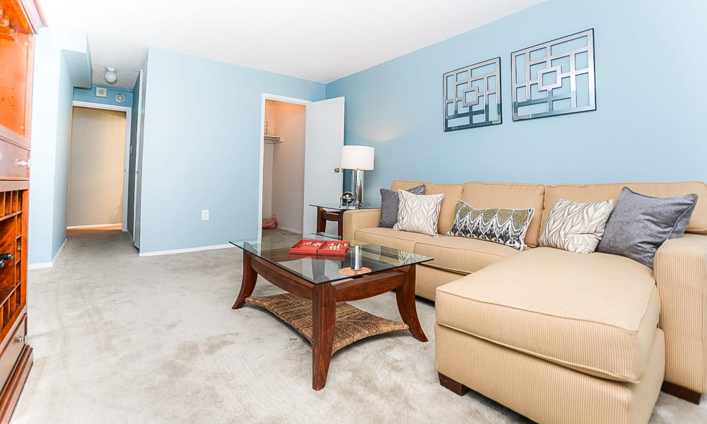 Modern living room at Place One Apartment Homes in Plymouth Meeting, Pennsylvania