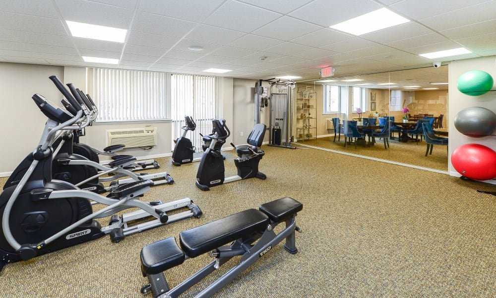 Place One Apartment Homes offers a fitness center in Plymouth Meeting, Pennsylvania