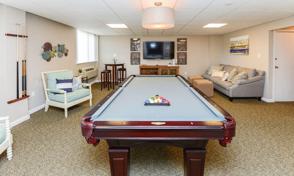 Billiards table at Place One Apartment Homes in Plymouth Meeting, Pennsylvania