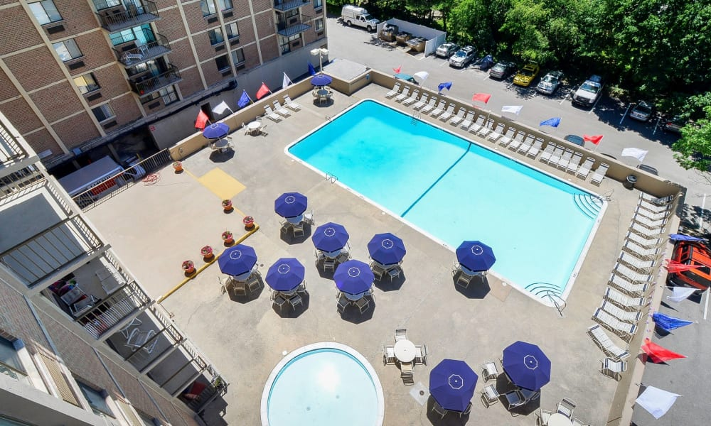 Swimming pool view from rooftop at Place One Apartment Homes in Plymouth Meeting, Pennsylvania