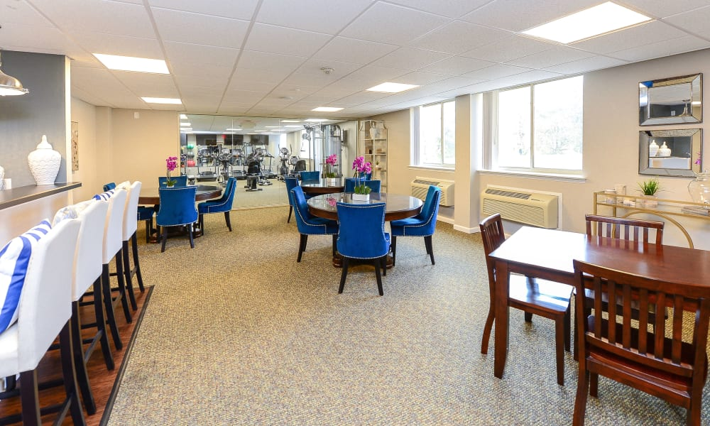 Clubhouse dining hall at Place One Apartment Homes in Plymouth Meeting, Pennsylvania