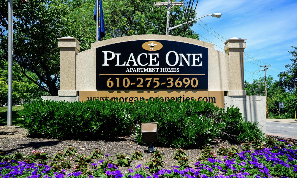 Entrance monument at Place One Apartment Homes in Plymouth Meeting, Pennsylvania