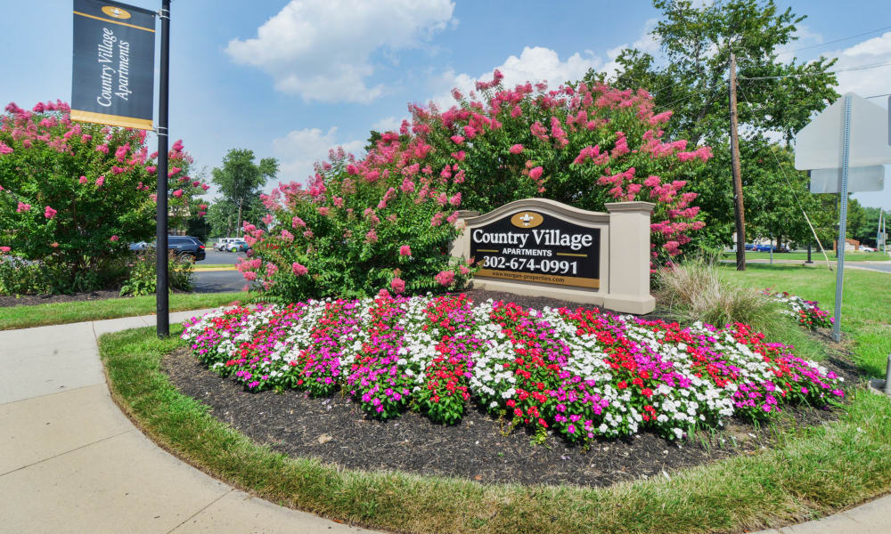 Entrance monument at Country Village Apartment Homes in Dover, Delaware