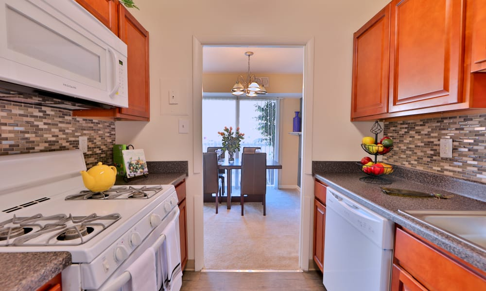 Kitchen hallway at Briarwood Place Apartment Homes in Laurel, Maryland