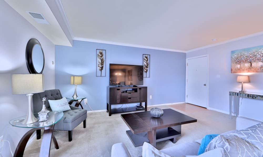 Modern living room at Northwest Crossing Apartment Homes in Randallstown, Maryland