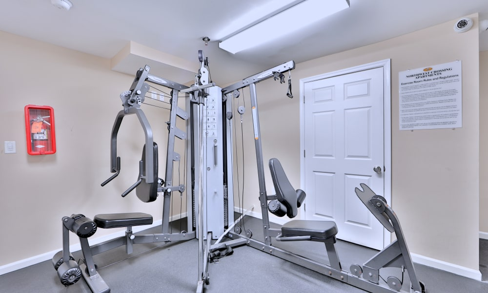 Fitness center at Northwest Crossing Apartment Homes in Randallstown, Maryland