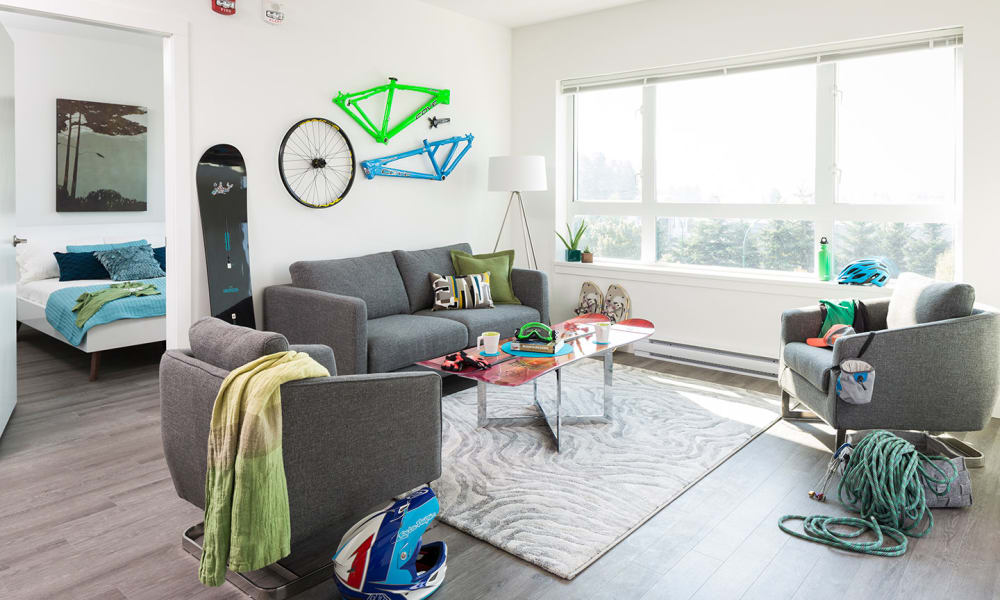 Our apartments in North Vancouver, British Columbia have a naturally well-lit living room
