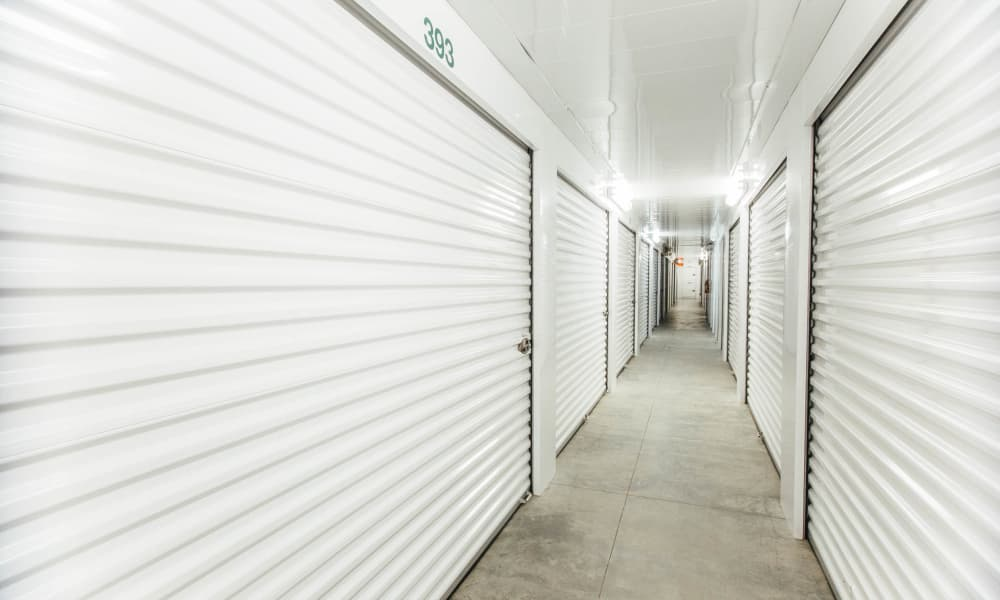 Hallway of units at Harrisburg self storage in North Carolina