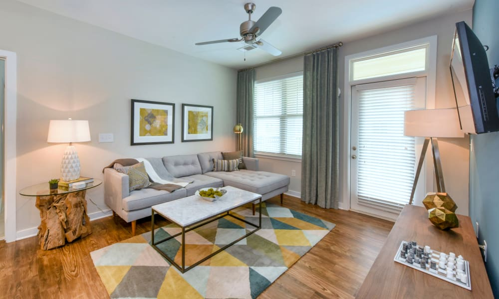 Our apartments in Charlotte, North Carolina have a naturally well-lit living room