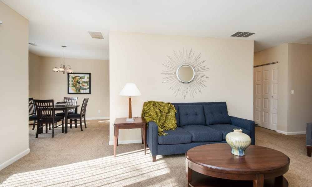 Living and dining room at Regency Lakeside Apartment Homes