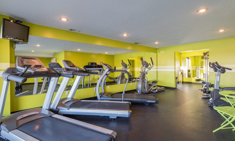 Fully equipped fitness center at Regency Lakeside Apartment Homes