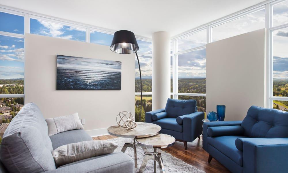 Beautiful living room windows at Glenmore Gardens in Calgary
