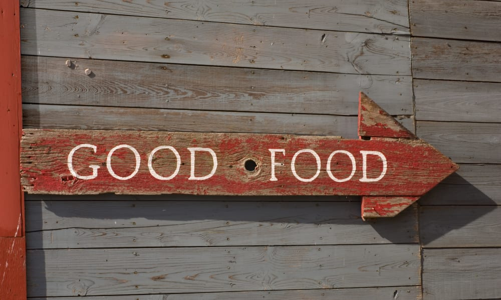 Good food sign near Walden Court Townhomes & Apartments in Norman, Oklahoma