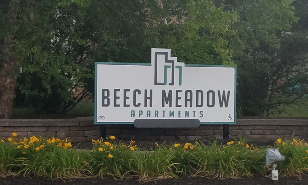 Beech Meadow Apartments welcome sign in Beech Grove