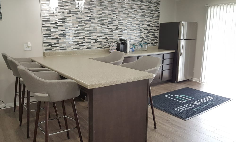 Clubhouse kitchen area at Beech Meadow Apartments
