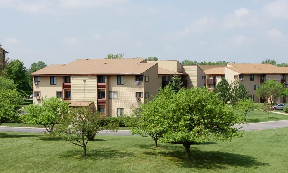 Apartment buildings at Cedar Ridge Apartment Homes in Richton Park, Illinois