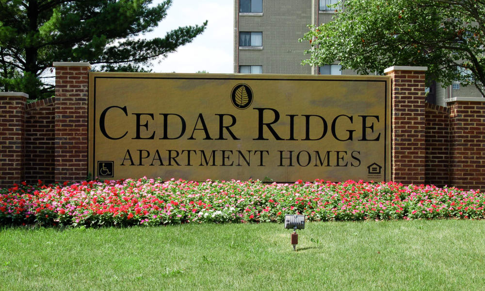 Cedar Ridge Apartment Homes sign in Richton Park,  Illinois