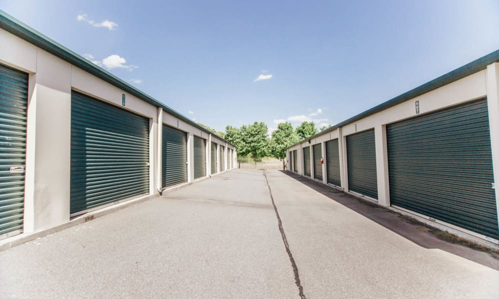 Exterior view of self storage units in Harrisburg, NC